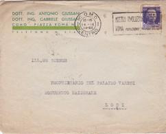BUSTA VIAGGIATA - COMO -ING.ANTONIO, E GABRIELE GIUSSANI -SOCIETA' ARCHEOLOGICA COMENSE, MUSEO CIVICO VIAGGIATA PER LODI - 1900-44 Vittorio Emanuele III