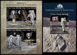 S. TOME & PRINCIPE 2019 - Apollo 11, M/S + S/S. Official Issue - Sao Tome Et Principe