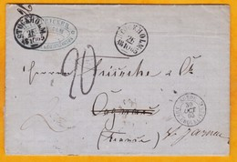 1865 - Enveloppe Pliée Avec Correspondance De Stokholm, Suède Vers Cognac, France Via Paris - Entrée Par Erquelines - Svezia