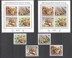 L680 !!! IMPERFORATE, PERFORATE 1984 DE HAUTE-VOLTA WWF FAUNA WILD ANIMALS BIRDS GUEPARDS 1SET+2KB MNH - W.W.F.