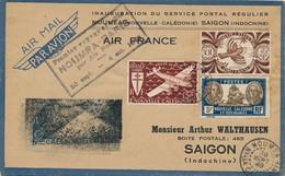I93 - NOUVELLE CALÉDONIE - Enveloppe Par Avion - Nouméa Vers Saïgon Indochine - 1949 - 1927-1959 Used