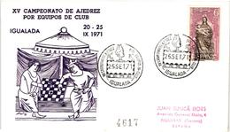 Chess Schach Echecs Ajedrez -Spain. Igualada 1971 - Souvenir Cover CKM 328 - Echecs