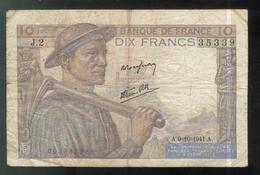 Billet 10 Francs France Mineur 9-10-1941 Bon état - 1871-1952 Circulated During XXth