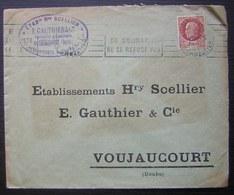Voujaucourt ( Doubs) 1944 Fonderies Et Émaillerie Henry Scellier, Timbre Pétain - Marcophilie (Lettres)