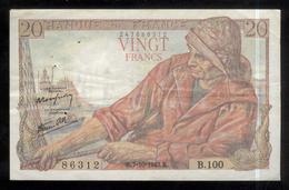 Billet 20 Francs France Pécheur 7-10-1943.K. TTB - 1871-1952 Anciens Francs Circulés Au XXème