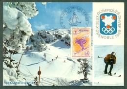 CM-Carte Maximum Card #1968-Andorre-Andorra # Sport # Olmpiade # Winter Olympic Games Grenoble  , Ski #  Andorre - Maximum Cards