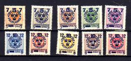 1918   Suède Armoiries Surchargées, 112 / 121*, Cote 45 €, - Suède