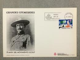 FDC Espagne 75ème Anniversaire Du Mouvement Scout, Scouting, Robert Baden Powell, Fondateur Founder Feu - Lettres & Documents
