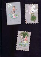 3 Chromos Celluloide En Relief Brodée - Vieux Papiers