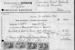 BINCHE – Note De Crédit Ets LEVACQ – Véhicules Agricoles (1966) - Belgique
