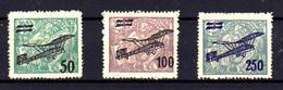 1922   Tchécoslovaquie,  Timbres De 1920-25 Surchargés, PA 7 / 9*, Cote 25 €, - Poste Aérienne