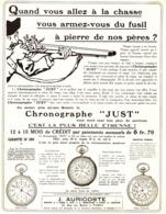 """PUB CHRONOGRAPHE """" JUST """"   1912 ( 1 ) - Montres Anciennes"""