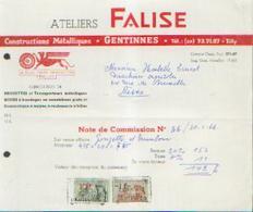 GENTINNES - Note De Commission  ATELIERS FALISE – Fabrique De Machines Agricoles (1966) - Belgique