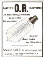 """PUB AMPOULES  O. R    """" AUER""""   1912  ( 1 ) - Technical"""
