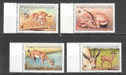 L729 JAMAHIRIYA LIBYA WWF FAUNA ANIMALS GAZELLA  1SET MNH - W.W.F.