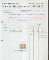 TRAZEGNIES – Ets EDOUARD VERSET Facture (1966) - Belgique