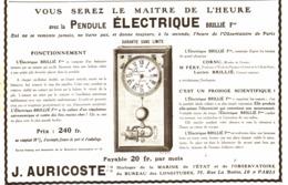 "PUB PENDULES ELECTRIQUES  "" BRILLé Fres ""   1913 ( 1 ) - Clocks"