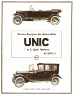 "PUB  VEHICULES  "" UNIC ""    1920 ( 9 ) - Transports"