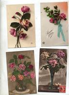 Lot 4 Carte Fantaisie Fleur Rose - Fleurs