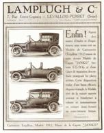 "PUB  VEHICULES  "" LAMPLUGH ""    1911 ( 1 ) - Transports"