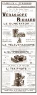 "PUB  TELEVERASCOPE- CUNCTATOR-VERASCOPE Et GLYPHOSCOPE  "" JULES RICHARD ""  1911 - Photographie"