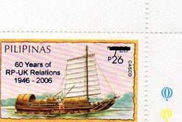 PHILIPPINES 2006 / BATEAUX Superbe 1 Valeurs Dentelé Surchargé En Bleu MNH - Barcos