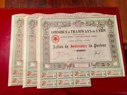 OMNIBUS  &  TRAMWAYS  De  LYON ------Lot  De  3  Actions  De  Jouissances - Chemin De Fer & Tramway