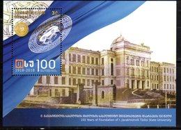 GEORGIA, 2018, MNH, ARCHITECTURE, EDUCATION, 100 YEARS OF FOUNDATION OF I. JAVAKHISHVILI UNIVERSITY, S/SHEET - Architecture