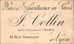 2) Carte De Visite Vins Spiritueux En Gros J. Collin ..LYON 6,8 Cm X 11,1 Cm B.Etat - Visiting Cards