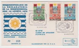 URUGUAY 1975 FOOTBALL WM 74 150 YEARS OF INDEPENDENCE FLIGHT MONTEVIDEO FLORIDA GAFU CAMPO DE AVIACION UPU OLYMPIC GAMES - Fußball-Weltmeisterschaft