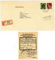 MIF Posthorn/Bauten 1951 Recobrief In Die Schweiz Mit Einlieferungsschein - BRD