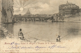 Roma (Lazio) Pescatori Sul Fiume Tevere, Castel Sant'Angelo E Cupola Di San Pietro - Castel Sant'Angelo