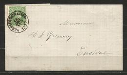 1869-83 - COB N° 30 - Dent: 15 - (o) Oblitération SIMPLE CERCLE VERVIERS (STATION) Sur Lettre Pour ENSIVAL 12/01/1877 - 1869-1883 Léopold II
