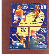 STATI UNITI (U.S.A.) - SG 2784.2787  - 1993 CIRCUS (COMPLET SET OF 4; 2 SE-TENANT)   - USED - Used Stamps