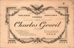 6) Carte De Visite Tableaux Cadres Gravures Sapet Charles Gevril LYON En TB.Etat - Visiting Cards
