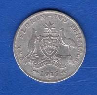 Australie  Florin  1917 M  Melbourne - Sterling Coinage (1910-1965)