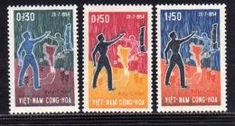 VIET NAM VIETNAM 1964 DAY OF NATIONAL GRIEF SOUTH AND NORTH JOURNÉE DU GRIEF NATIONAL SUD ET NORD FULL SET SERIE MNH - Vietnam