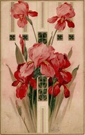 CPA GAUFRÉE IRIS ROUGES ART NOUVEAU 1909 - Fleurs