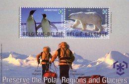 """BELGIQUE 2009 / Magnifique Bloc De 2 Valeurs Dentelées """" Préservation Des Zones Polaires """" - Preservar Las Regiones Polares Y Glaciares"""