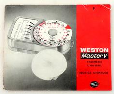 Vintage Notice Du Posemètre (cellule) WESTON MASTER V En Français - Matériel & Accessoires