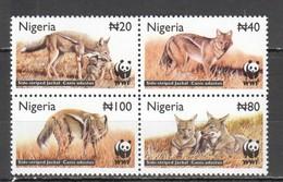 L812 NIGERIA WWF FAUNA ANIMALS SIDE-STRIPED JACKAL 1SET MNH - W.W.F.