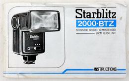 Vintage Notice Flash électronique STARBLITZ 2000-BTZ Français Allemand Anglais Italien & Suédois - Matériel & Accessoires