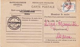 N° 15A Sur Carte De Ravitaillement De VILLEURBANE à Destination De MAGENTA (51) De 1946, Sceau - A Voir 2 Scans - Lettres & Documents