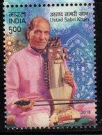 INDIA, 2018, MNH, MUSIC, USTAD SABRI KHAN, MUSICAL INSTRUMENTS, SARANGI,1v - Music