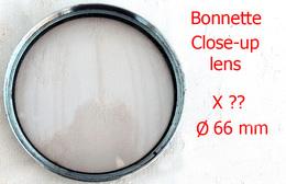 Ancienne & Grande Bonnette Close-up Lens Diam 66mm Grossissement ? Pour Macrophotographie - Lenti