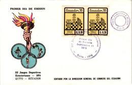 Chess Schach Echecs Ajedrez - Ecuador. Quito 1975 - Commemorating The 3rd Ecuador Sport Games In 1974 - FDC CKM 499 - Echecs
