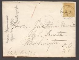 1884  Lettre De Paris Pour Le Sénat Des USA - Washington D.C.  Yv 92 Seul - 1876-1898 Sage (Type II)