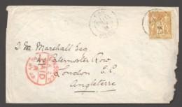 1882  Lettre De Paris - Auteuil Pour L'Angleterre   Yv 92 Seul - 1876-1898 Sage (Type II)