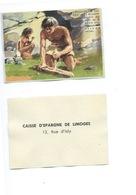 Découverte Du Feu Hommes Des Cavernes Chromo De La Caisse D'Épargne De Limoges 1960s TB 80 X 55 Mm - Autres