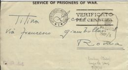 BIGLIETTO CAMPO PRIGIONIERI INDIA POW CAMP 26 YOL 1943 X ROMA - 1900-44 Vittorio Emanuele III